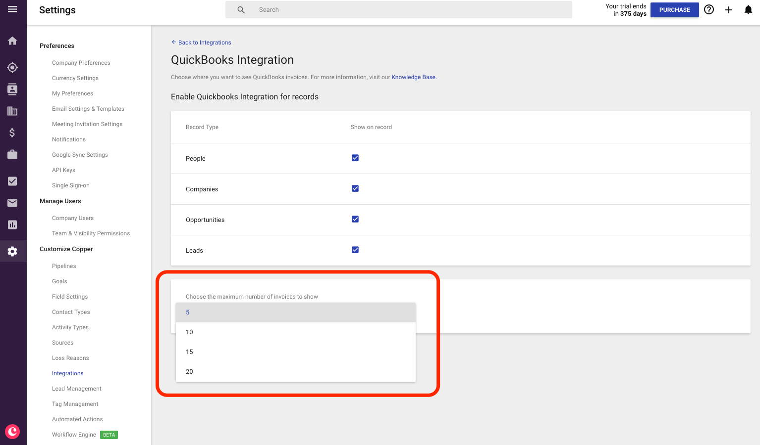 Working with the Quickbooks Integration (BETA) – Copper Knowledge Base