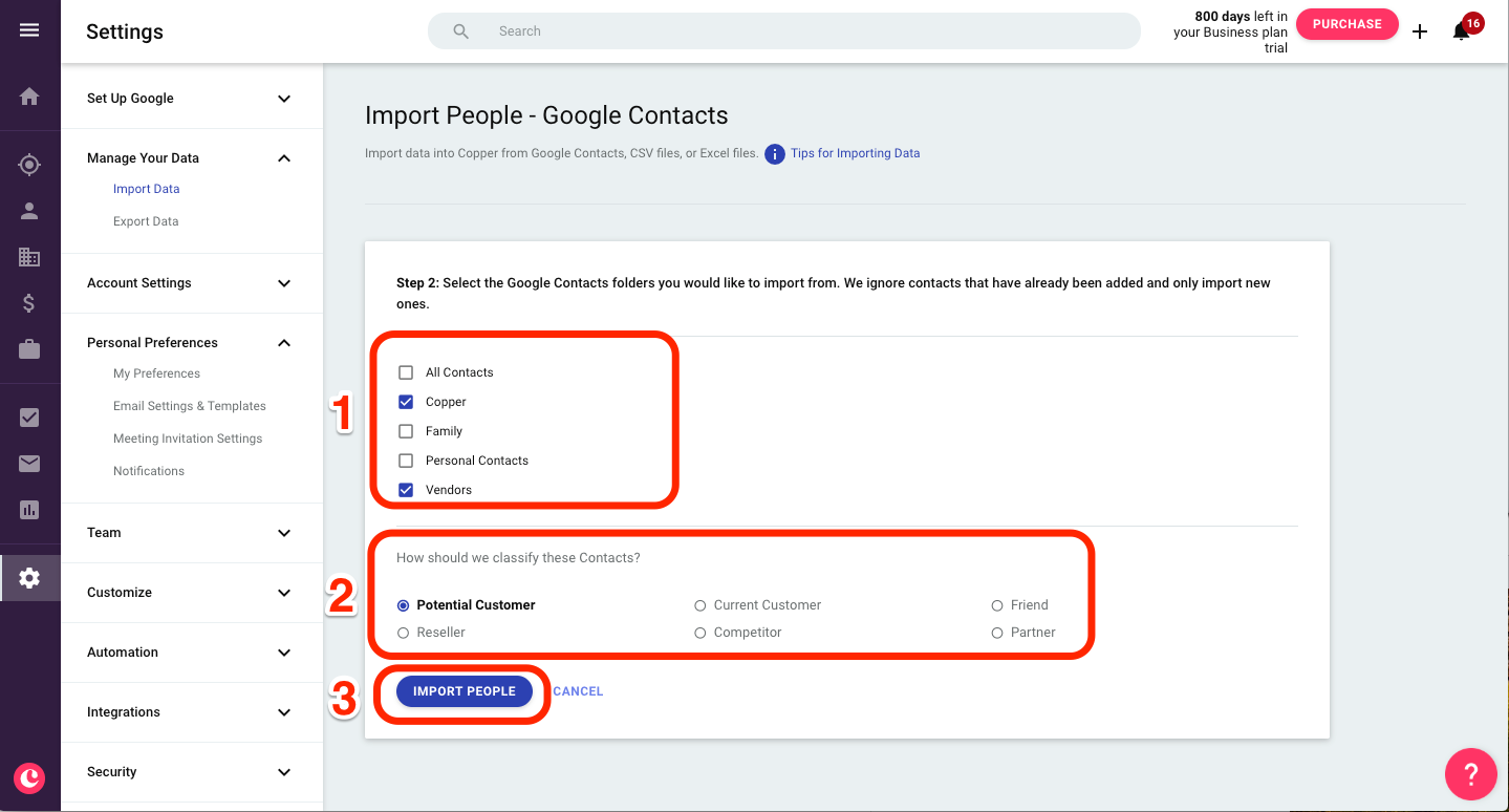 Importing from Google Contacts – Copper Help Center