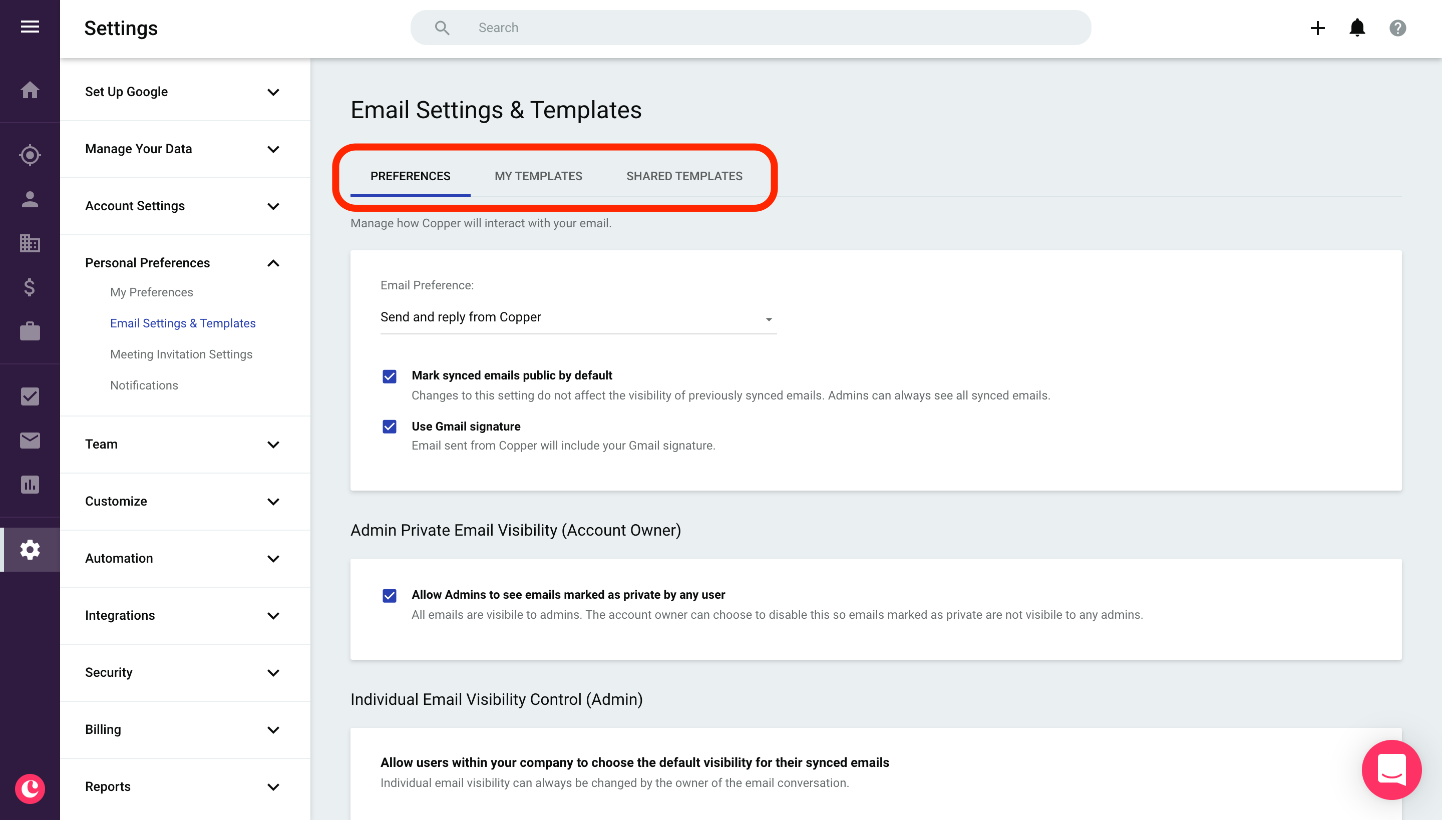 Email settings and Email Templates ...