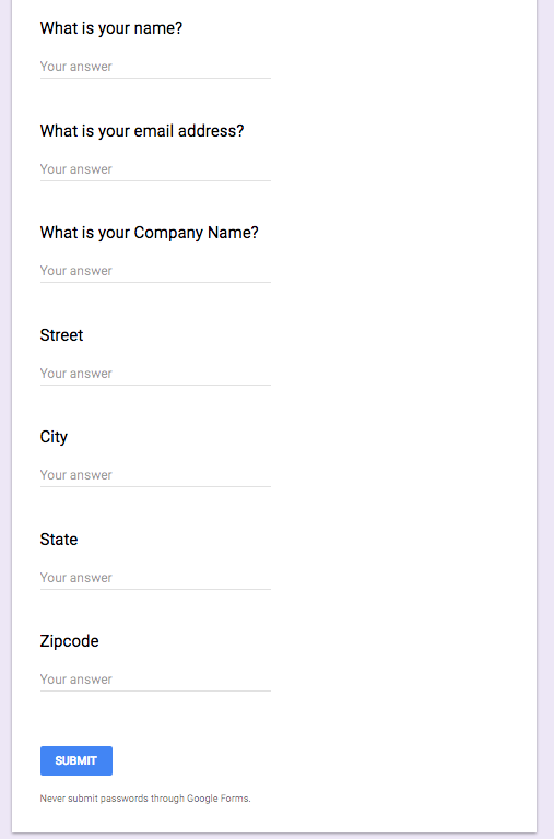 How to create a google form to create a lead in prosperworks after you have created a form that records responses in a google spreadsheet create a zapier connection with your prosperworks account by starting a free ccuart Image collections