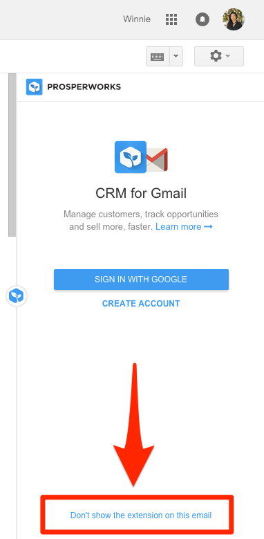 Hide the Chrome Extension in select Gmail inboxes – Copper